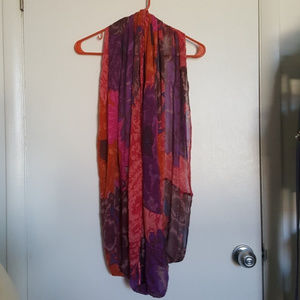 Anthropologie Red Purple Flower Infinity Scarf